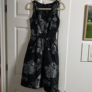 Black and Silver Flower Cocktail Dress
